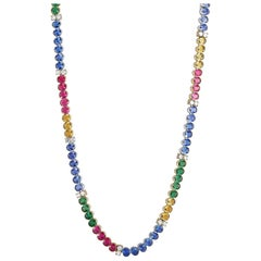 Platinum and Gold Diamond, Tanzanite, Citrine, Tourmaline and Tsavorite Necklace