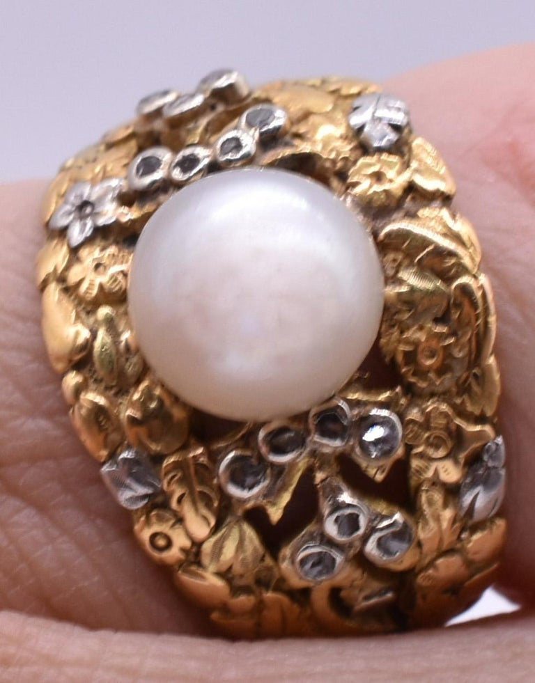 French Cut Platinum and Gold Pearl Ring with Diamonds For Sale