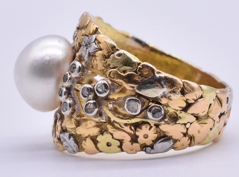 Women's Platinum and Gold Pearl Ring with Diamonds For Sale