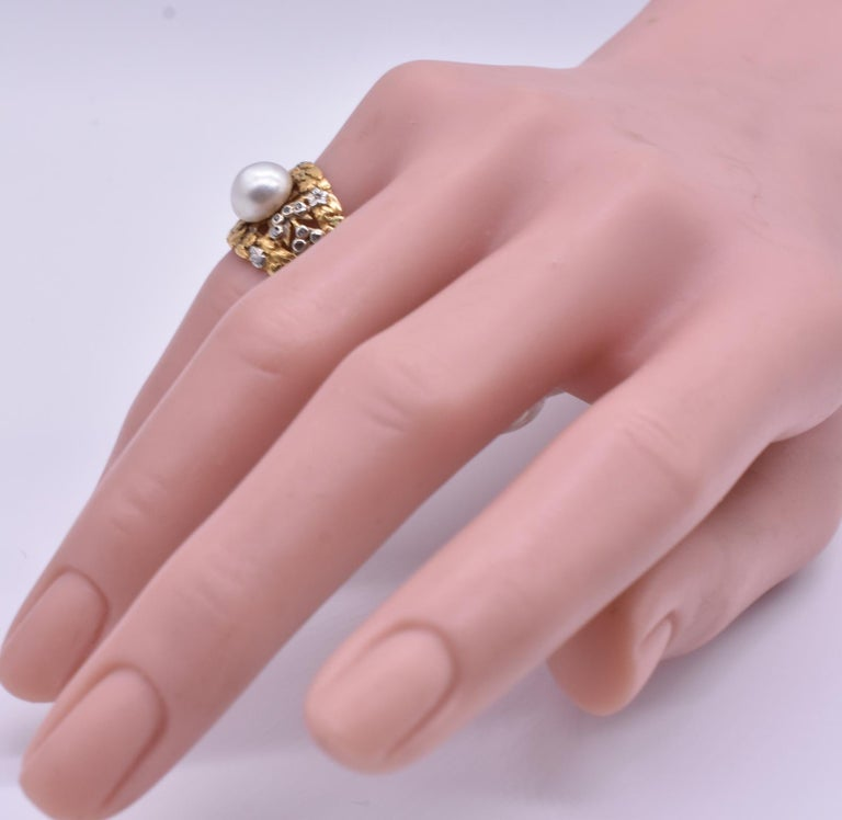 Modernist Platinum and Gold Pearl Ring with Diamonds For Sale
