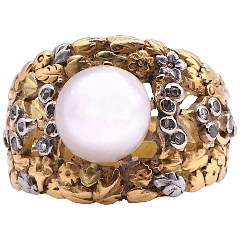 Platinum and Gold Pearl Ring with Diamonds For Sale
