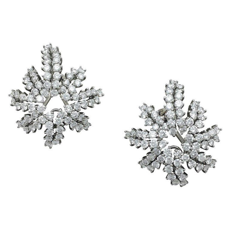 "Tiffany & Co. ""Fireworks""  Diamonds Platinum and Gold Earrings  For Sale"