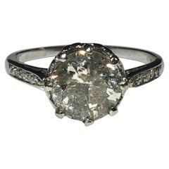 Platinum and Old Cut Diamond 3.10 Carat Ring