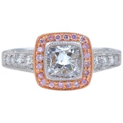 Platinum and Rose Gold Diamond Engagement Ring Cushion and Pink Diamonds