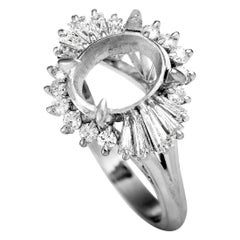 Platinum and Round and Tapered Baguette Diamond Mounting Ring