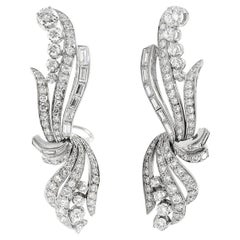 Platinum and Round Diamonds Beautiful Earrings