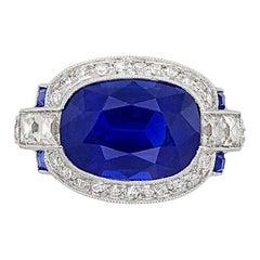 Platinum and Sapphire and Diamond Ring