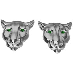 Platinum and Tsavorite Eyes Colorado Cougar Stud Earrings