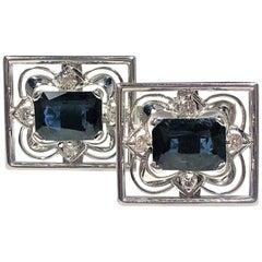 Platinum and White Gold Diamond Cufflinks with Emerald Cut Sapphire Centers