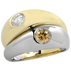 Platinum and Yellow Gold and Diamond Ring