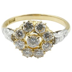 Platinum and Yellow Gold Flower Diamond Engagement or Dress Ring