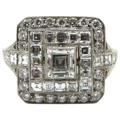 Platinum Antique Art Deco Style, Carre and Round Diamond Engagement Ring