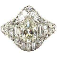 Platinum Antique Art Deco Style Pear Shaped Diamond Engagement Ring