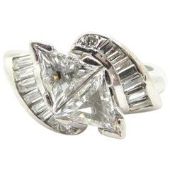 Platinum Antique Art Deco Style Trillion and Baguette Diamond Engagement Ring