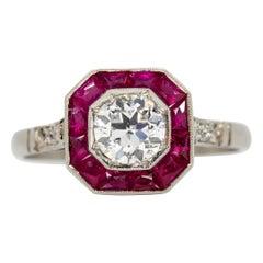 Platinum Antique Old Mine Cut Diamonds and Rubies Ring
