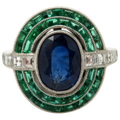 Platinum Antique Vintage Estate Art Deco Sapphire Emerald and Carre Diamond Ring