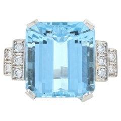Platinum Aquamarine and Diamond Vintage Ring, Emerald Cut 11.38 Carat Milgrain