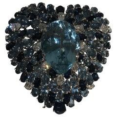 Platinum Aquamarine, Sapphire, and Diamant Heart Brooch