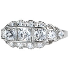 Platinum Art Deco 0.90 Carat Diamond Band Ring