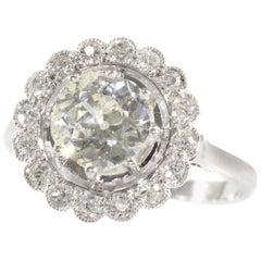 Platinum Art Deco 1.70 Carat Diamond Engagement Ring, 1920s