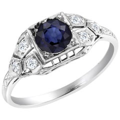 Platinum Art Deco 1920 Sapphire and Diamond Cocktail Ring
