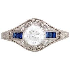 Platinum Art Deco 1920s Diamond and Sapphire Ring