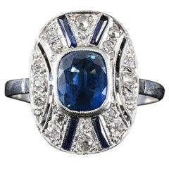 Platinum Art Deco 2.03 Carat Center Sapphire Ring