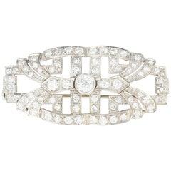 Platinum Art Deco 2.10 Carat Diamond Brooch