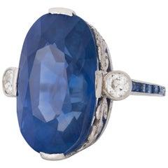 Art Deco 27.11 Carat Oval Unheated Ceylon Sapphire and Diamond Ring in Platinum