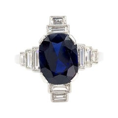 Platinum Art Deco Blue Sapphire and Diamond Ring
