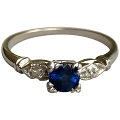 Platinum Art Deco Blue Sapphire Diamond Engagement Ring