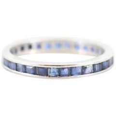 Platinum Art Deco Blue Sapphire Vintage Eternity Band Stackable Ring