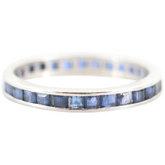 Platinum Art Deco Blue Sapphire Vintage Eternity Band Stackable Ring