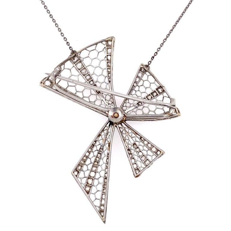 Rose Cut Platinum Art Deco Bow Brooch Necklace 1.00 Carat Diamonds 10.2g For Sale