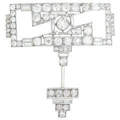 Platinum Art Deco Brooch Set with Diamonds