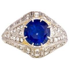Platinum Art Deco circa 1920s Diamond and Sapphire Ring