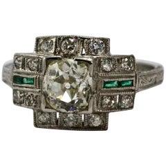 Platinum Art Deco Diamond and Emerald Cocktail Ring