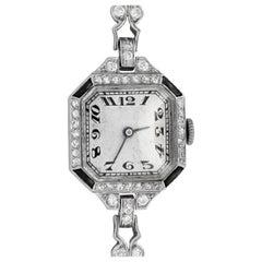 Platinum Art Deco Diamond and Onyx Watch