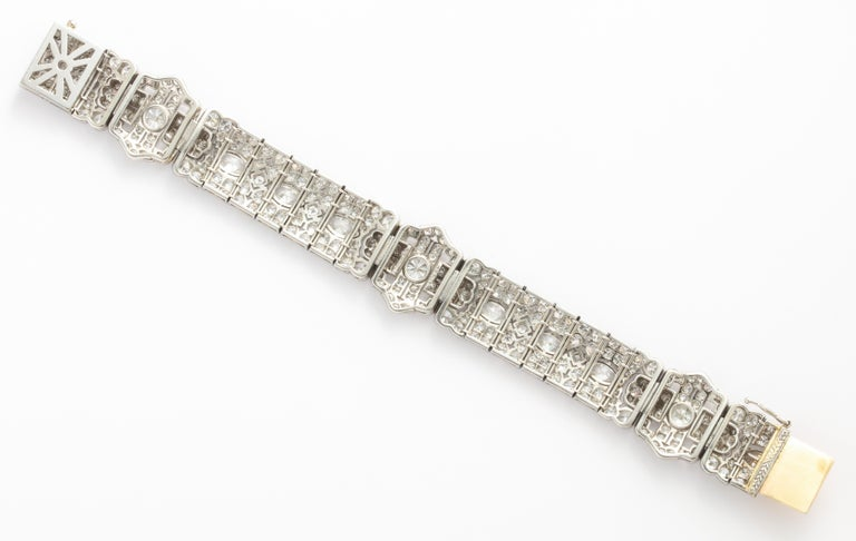 Round Cut Platinum Art Deco Diamond Bracelet by Tiffany & Co. For Sale