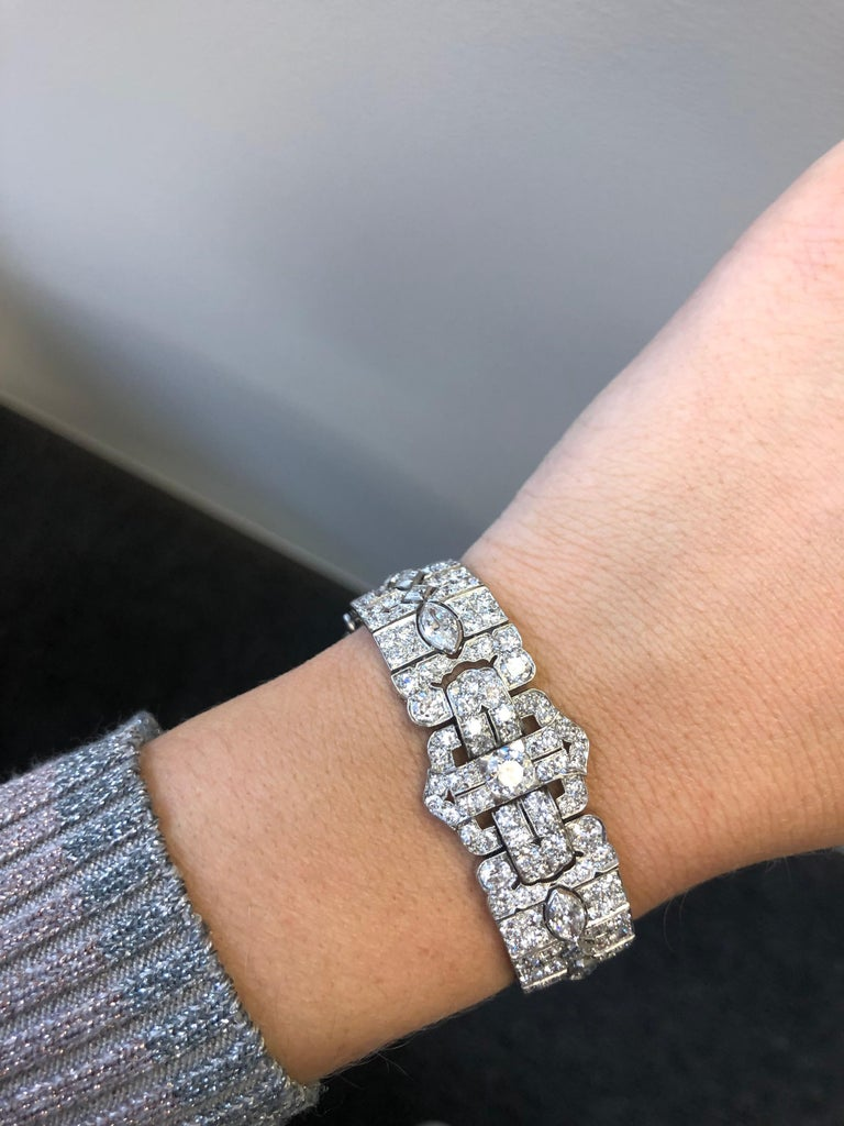 Platinum Art Deco Diamond Bracelet by Tiffany & Co. For Sale 4