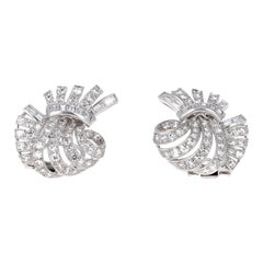 Platinum Art Deco Diamond Clip-On Earrings