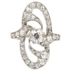 Art Deco Platinum Diamond Engagement Ring OEC 0.57ct Centre, circa 1925