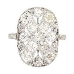 Art Deco Platinum Diamond 1.75 Carat Flat Plaque Dress Ring Circa 1920