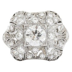 Platinum Art Deco Diamond Est. 1.95 Carat Bombe Dome Ring