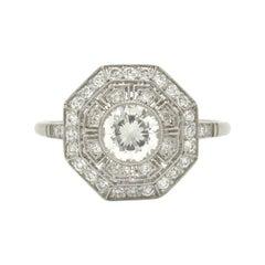 Platinum Art Deco Style Diamond Filigree Engagement Ring Greek Key Octagon