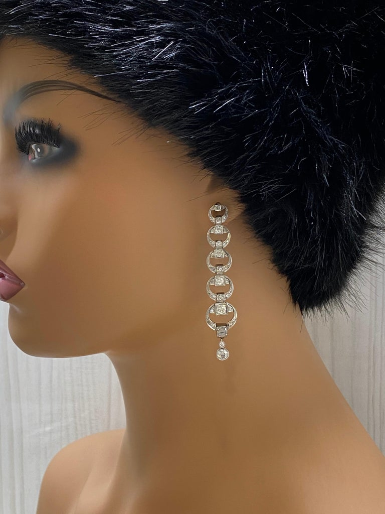 Platinum Diamond Multi Circle Long Dangling Earrings For Sale 1
