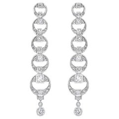 Platinum Diamond Multi Circle Long Dangling Earrings