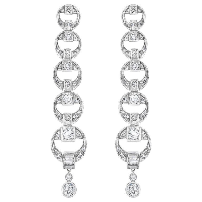 Platinum Diamond Multi Circle Long Dangling Earrings For Sale