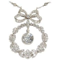 Platinum Art Deco Diamond Necklace White 4.45 Carat