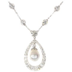 Platinum Art Deco Diamond Necklace with Natural Drop Pearl of 7 Carat, 1930s